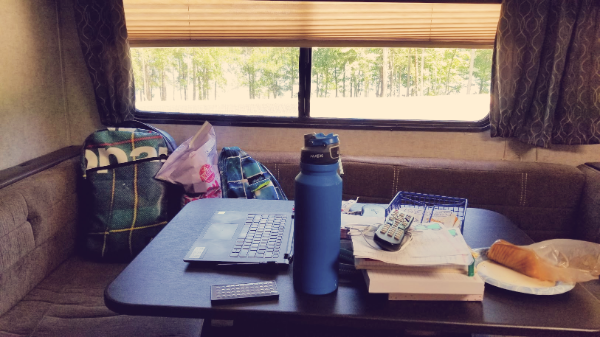 RV Dining Table, Snacks, and Computer